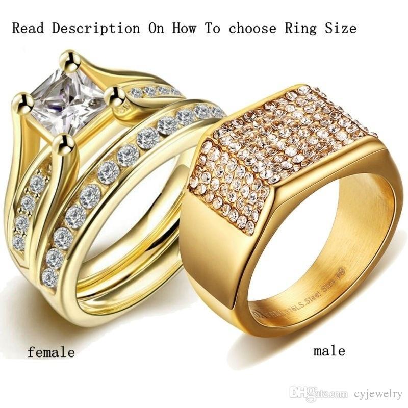 Gelbgold zirkon herren ringe prinzessin 1ct weiß topaz frauen hochzeit verlobung paar ringe sets größe 7-12 #