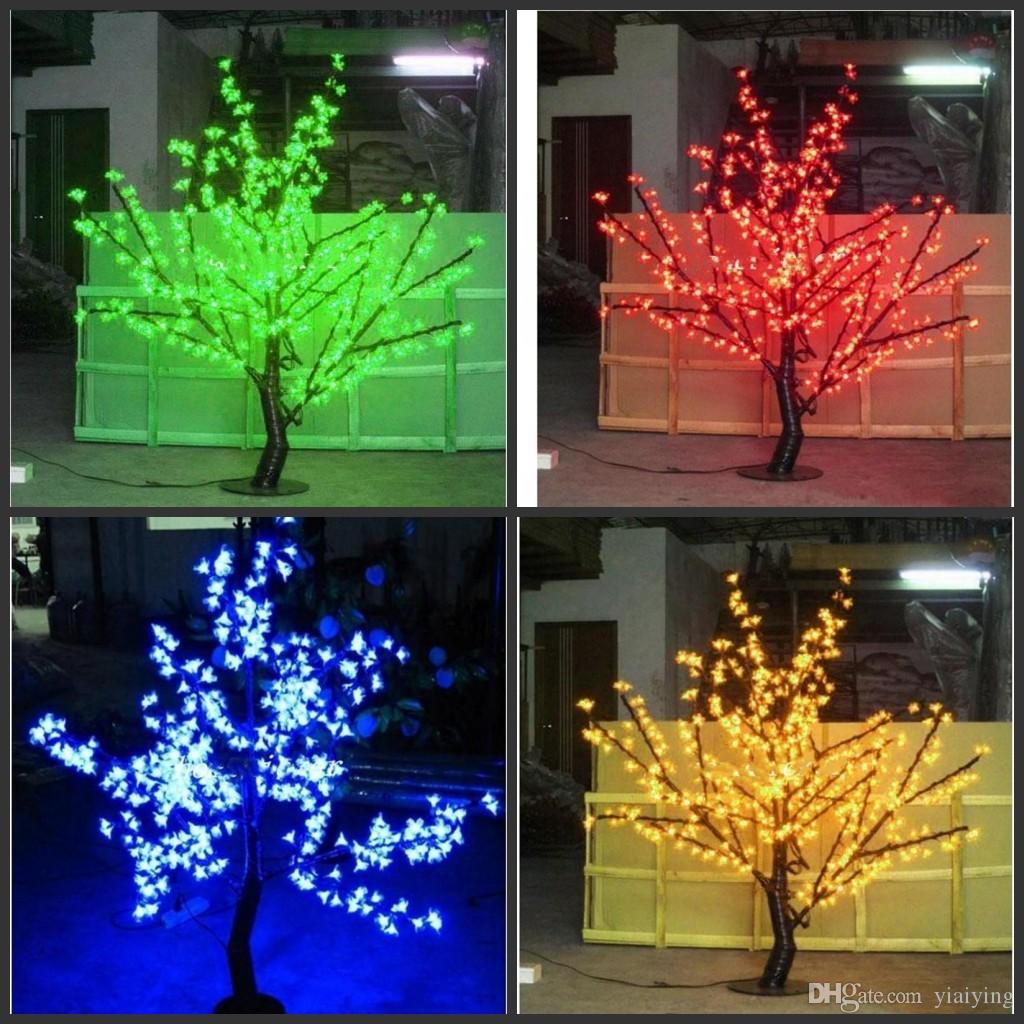 LED extérieur artificielle Fleur de cerisier Arbre clair 480pcs lampe arbre de Noël Ampoules LED 1.5m Hauteur 110 / 220VAC antipluie décor de jardin de fées