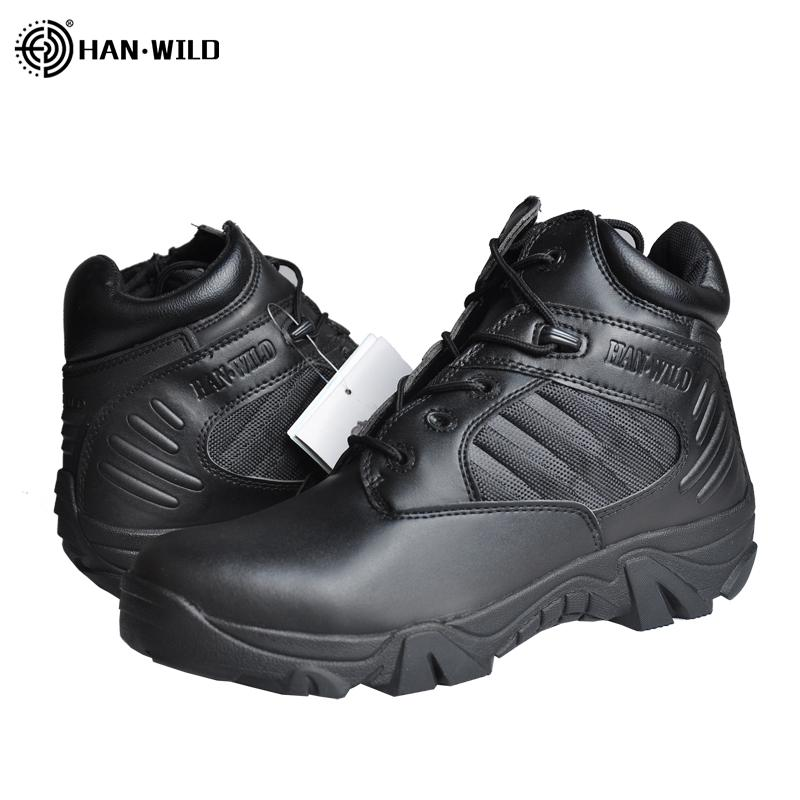 HAN WILD Boots Men Hiking Shoes Tactical Combat Boots Combat Training Tactical Climbing Breathable