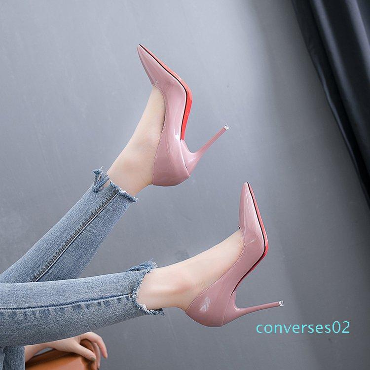 Seksi Kırmızı Alt Yüksek Topuklar Sole Kadınlar Düğün Ayakkabı Gelin Chaussures Femme Dames Schoenen İnce Topuklar CO02 Bayanlar Parti Ayakkabı