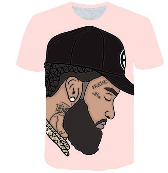 Amerikanische Rapper 3D-T-Shirts der Männer-Frauen-Sommer Nipsey Hussle beiläufige T-Shirts Kurzarm Tops Herrenmode Shirts