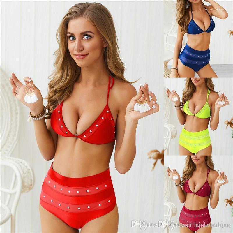 Drilling Womens Bikini Summer High Waist Backless Ladies Badeanzug Fashion 2PCS Bathing Suits Sexy 2PCS Hot
