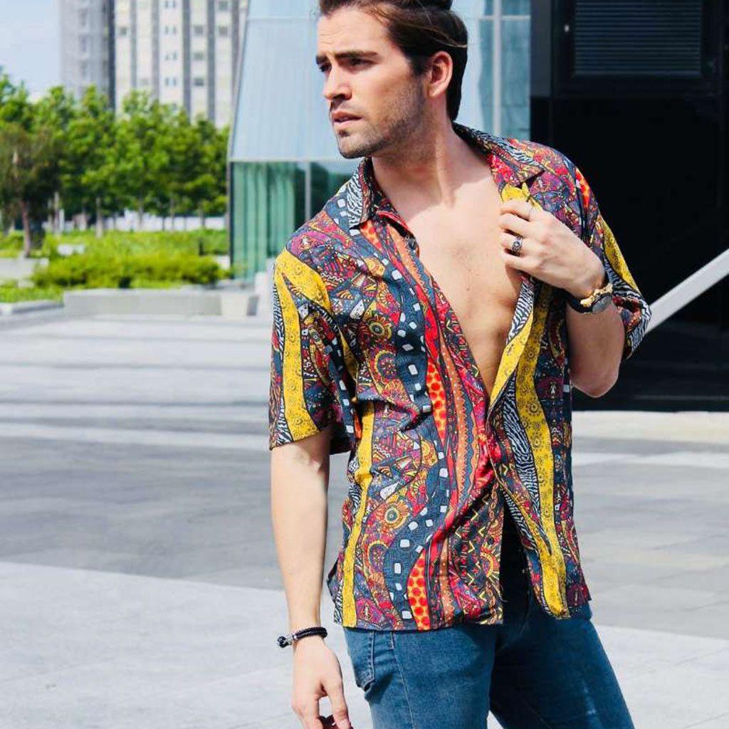 Summer Beach Shirt Vintage Men Short Sleeve Hawaiian Shirt Flower Printing Shirts Plus Size Thin Summer Dress 2020 50CS