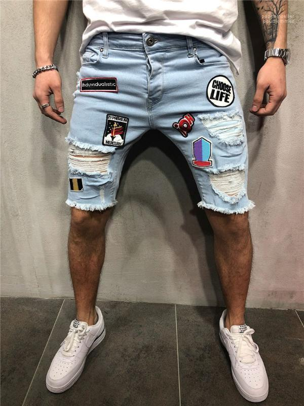 Buracos Hemme solto rebarbas Shorts Geometric Applique Man Verão Shorts Zipper Fly Man Jeans Shorts Casual