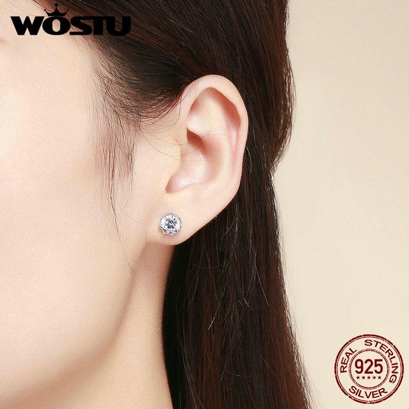 WOSTU Reale 100% 925 orecchini in argento sterling luce frizzante per le donne fidanzamento fidanzamento moda gioielli freschi regalo CQE499