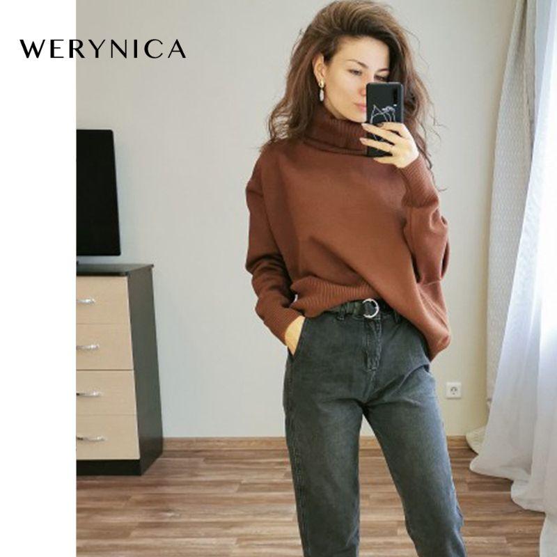 Werynica neue Herbst-Winter-Frauen lose gestrickten Pullover in Überrollkragenpullover mit langen Ärmeln Frauen Outwear Fest Pullover S20200106