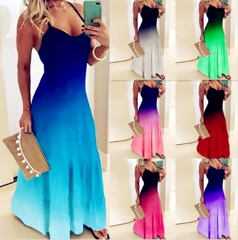여성 캐주얼 느슨한 스트랩 드레스 색상 여름 섹시한 Boho Bow Camis Befree Maxi Plus 크기 큰 대형 드레스 robe Femme S / M / L / XL / 2XL / 3XL / 4XL / 5XL