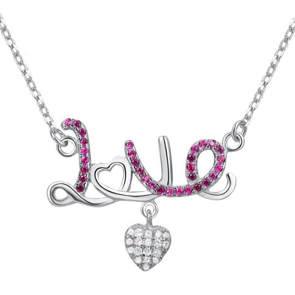 Ciondolo in argento 925 Collana Love Heart Women Cute Summer Wear Red CZ 40 + 5cm Catena a maglie a catena Regalo di compleanno per la fidanzata NC7013