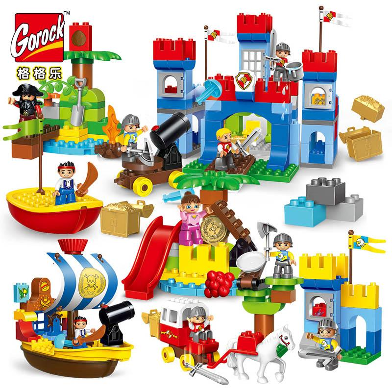 GOROCK Big Blocks Castle Large Particles Building Blocks Pirates War Bricks Educational Baby LegoIN Toys Compatible With Duplo