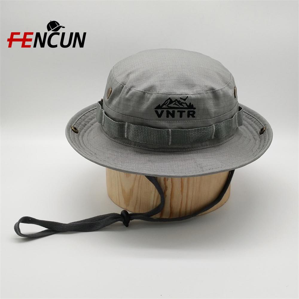 De encargo del bordado del poliester Pesca Caza Pesca Cap ancha ala del sombrero del cubo con la secuencia deportes al aire libre del cubo del casquillo