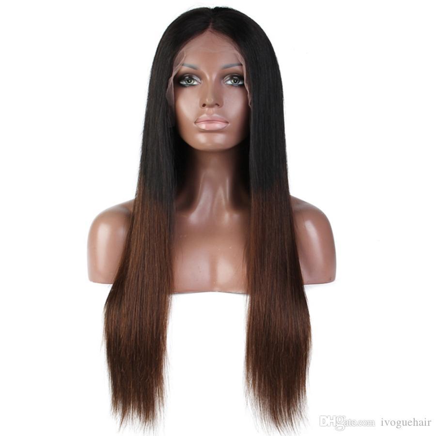 Темный Brwon Ombre фронта шнурка человеческих волос Straight Virgin малазийский Pre щипковых человеческих волос полный парик шнурка Two Tone # 1B / # 4