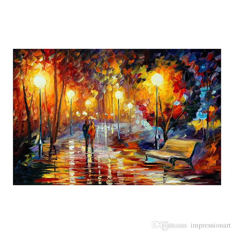 Romantic walking in the rain forest oil painting restaurant bedroom adornment painting murals rainy night umbrellas hand-painted 40x30