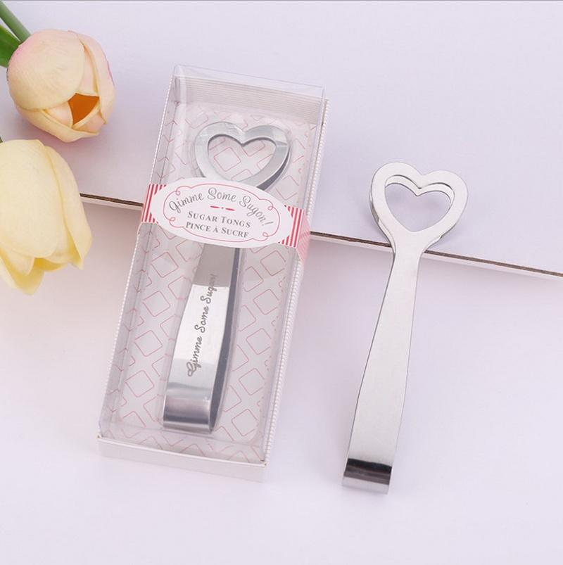 50PCS Gimme Some Sugar! Stainless-Steel Heart-Themed Sugar Tongs Wedding&Bridal Shower Favors FREE SHIPPING