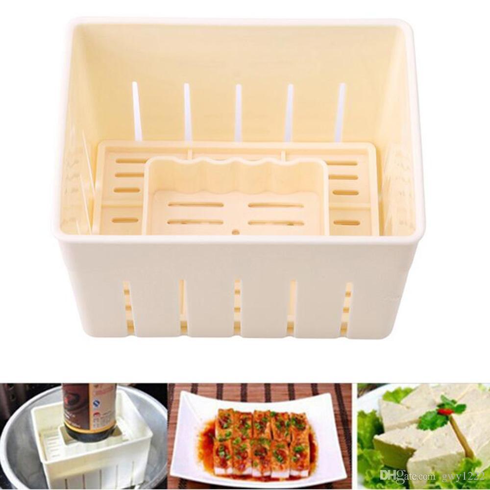 1 pc molde diy moldes de imprensa tofu de plástico caseiro de soja tofu requeijão fazer molde com pano de queijo cozinha cozinhar ferramenta conjunto
