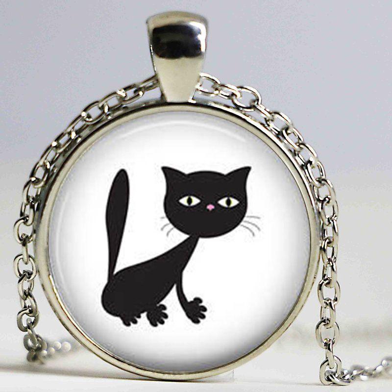 Atacado Kitten Art Glass Cabochon Cat Colar Cabochon Vidro Colar chiques gastos do gato redondas meninas pendant