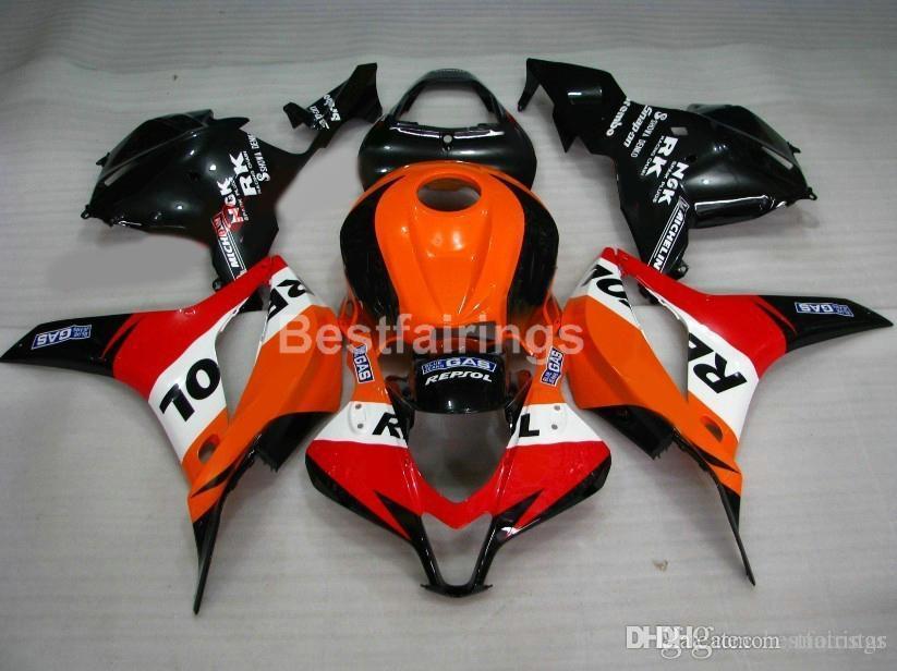 Spritzguss 100% fit für Honda-Verkleidung CBR 600RR 09 10 11 orange schwarz Verkleidungskit CBR600RR 2009 2010 2011 XS08