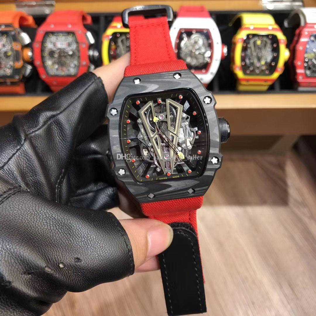 Новый дизайнер роскошные мужские часы Рафаэль Надаль RM27-03 NTPT углеродного волокна безель ажурный турбийон механизм с автоподзаводом 48X42MM Мужские спортивные часы