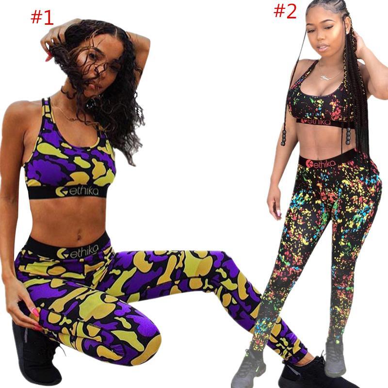 Le donne Ethika Fashion Tuta Reggiseno sportivo Crop carro armato + ghette due pezzi Outfits di lusso del vestito Swimwear Sport costume da bagno vestiti