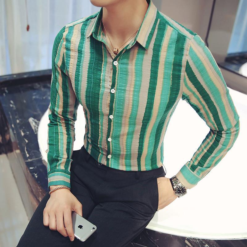 Camicie casual da uomo Camisa Masculina Fashion 2021 Slim fit uomo camicia a maniche lunghe a strisce mens social camisas para hombre