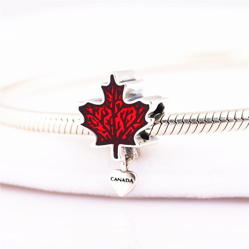 925 charm in argento sterling dello smalto canadese originale braccialetto di fascino del pendente DIY per catene di serpente e collane