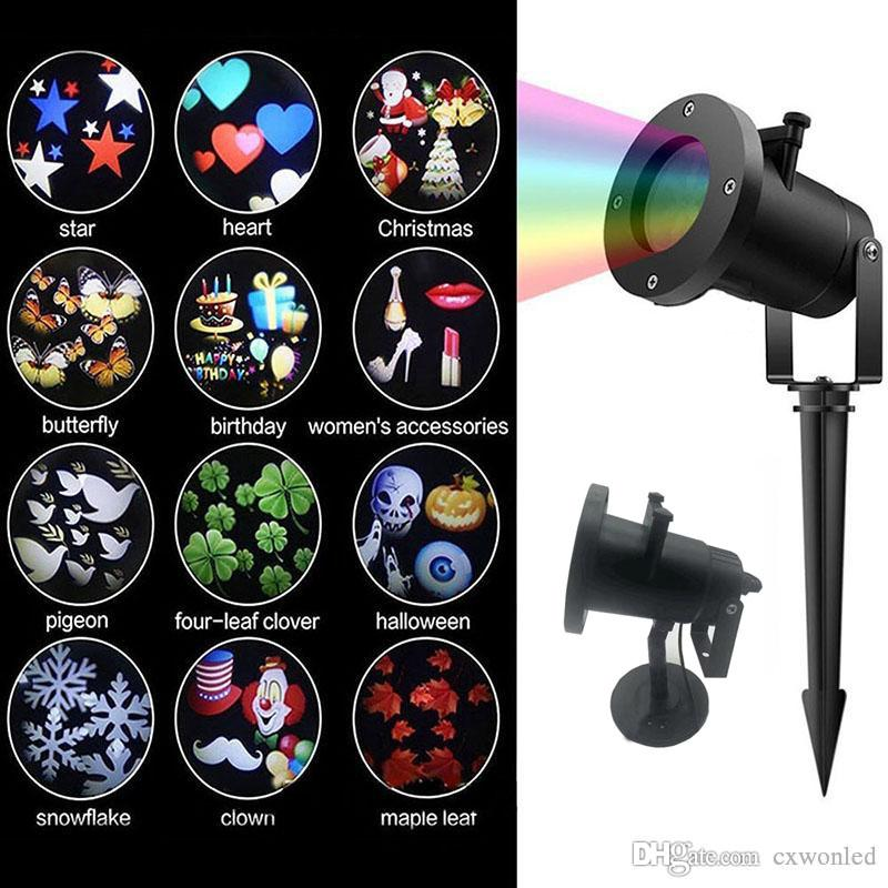 LED Decoration Laser Light Projector LED RGB 12 pattern Replaceable Rotating lamp Projector Landscape Light for Garden Halloween Christmas
