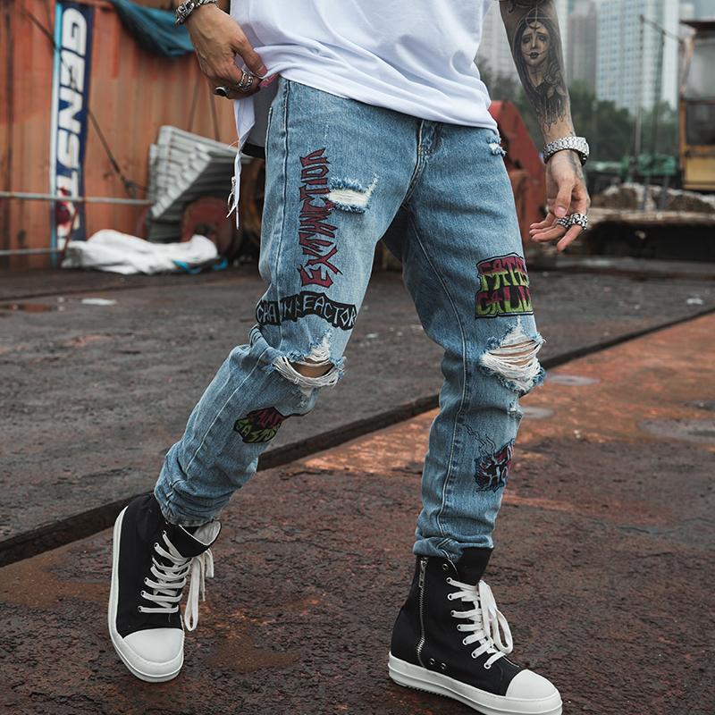 2019 nuovi uomini Skinny jeans skinny slim fit elastico Blue Jeans cotone leggero confortevole Hip Hop dei graffiti Hole Y200116