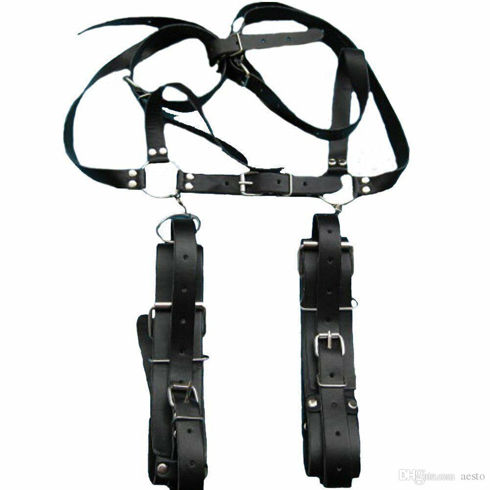 Fetish Leather Wrist Leg Restraints Bondage Sexy aperto coscia Harness Toy # E593