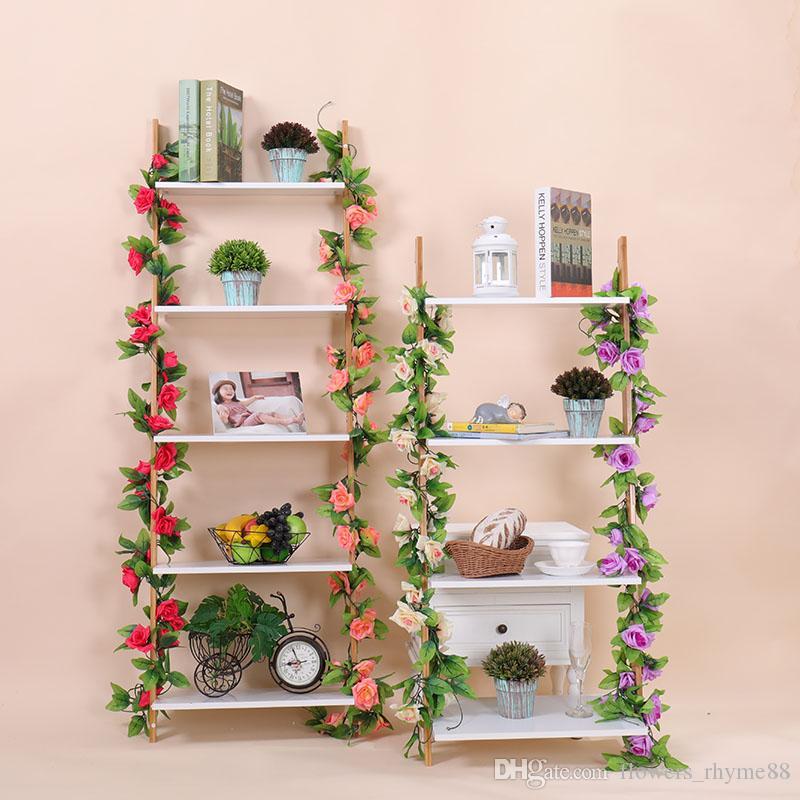 Flores de seda Rosa de seda rattan Ivy Vine com folhas verdes para decoração de casamento em casa Folha falsa diy Suspensão Guirlanda de flores Flores artificiais