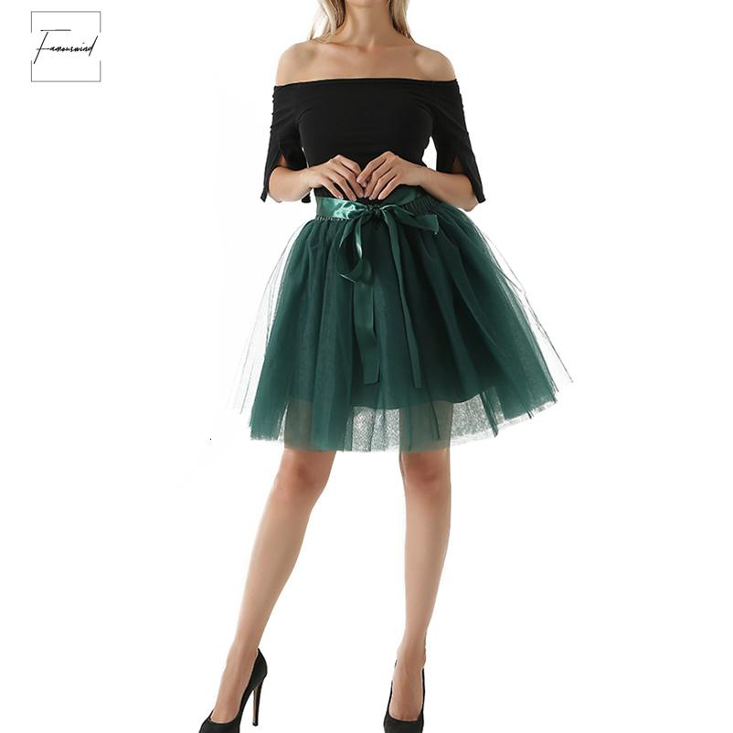 Camadas 7 Tulle saia Mulheres Meninas Moda Tutu Saias Para vestido de baile do partido Petticoat Lolita Faldas Saia Jupe