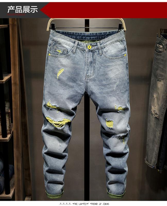 W6948 Мода Мужские джинсы 2020 Runway Европейский дизайн стиль партия Мужская одежда