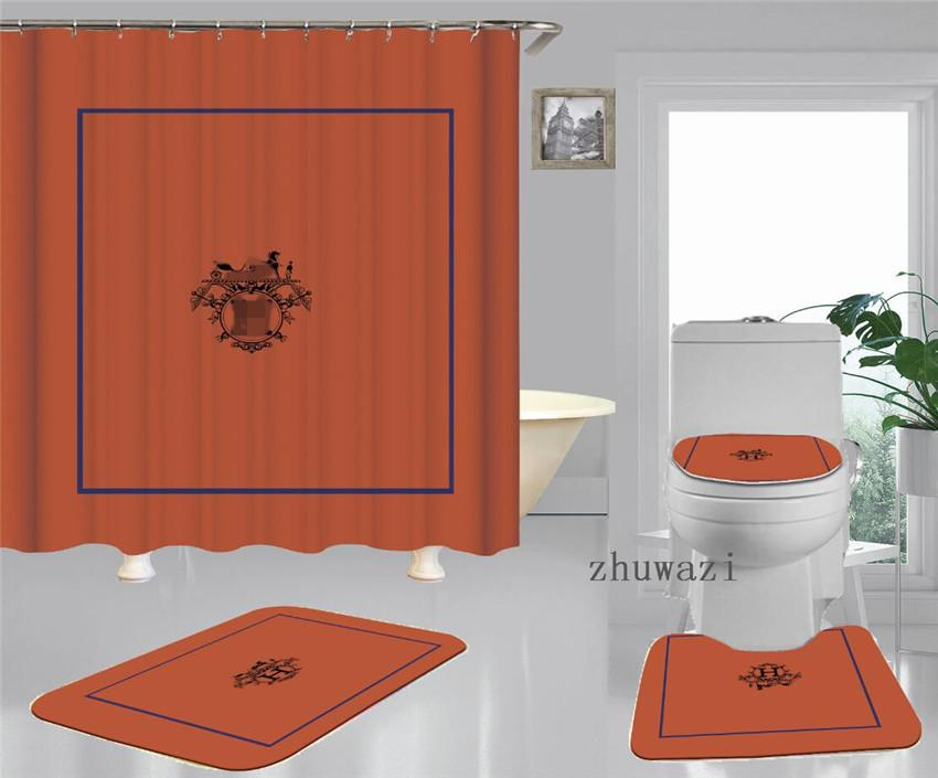 Fashion Orange New Patterns Printing Shower Curtain Waterproof Multi-function Curtain Luxury Toilet Seat Covers Set For Home