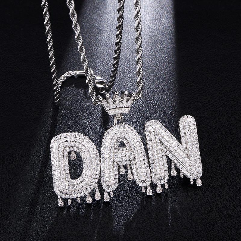 Couleurs Argent Or A-Z Nom personnalisé CZ diamant Lettre collier pendentif avec chaîne corde 24inch pour Hommes Femmes Nice cadeau
