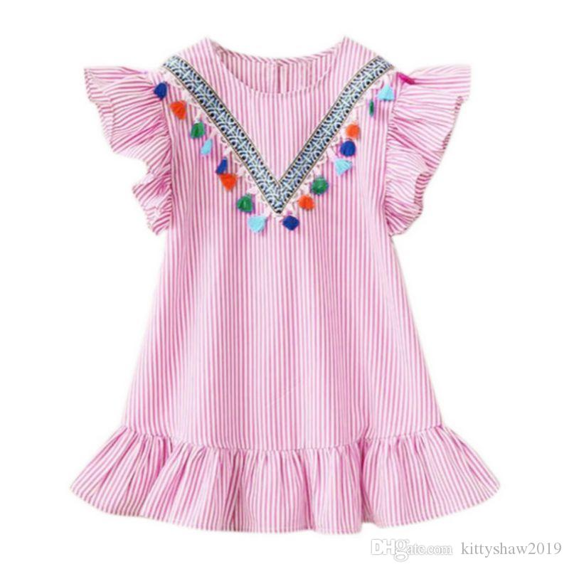 Summer Baby Girls Dresses Tassel Flying Sleeve Stripe Cute Kids Party Dress Princess
