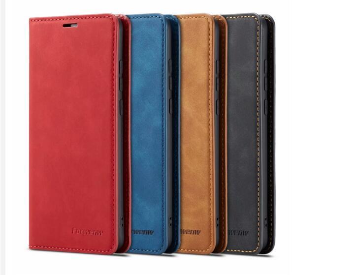 원래 Forwenw 자기 가죽 지갑 케이스 Bumper와 카드 슬롯 플립 자석 커버 iphone12 13 13Pro XS 삼성 S10 화웨이 P20 P30