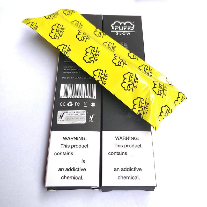 Puff Glow Одноразовая 1,4 мл Электронные сигареты Устройство Бобы LED Puff Bar Glow одноразовые Vape перо наклейки Kit 280mAh Аккумулятор Предварительно заполненный испаритель