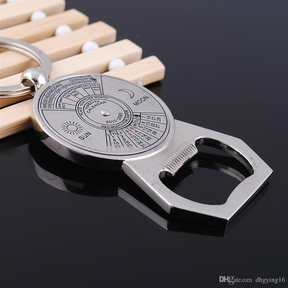 50 Years Unique Mini Perpetual Calendar opener Keychain Ring Keyring Bottle Opener Beer Openers Metal Home Bar Tools