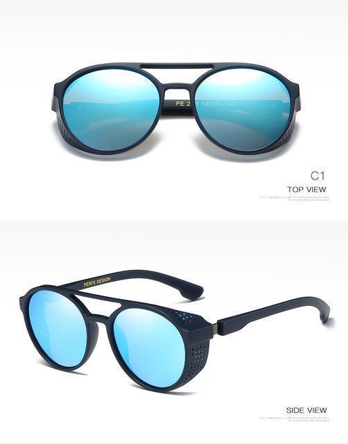 Moda Marca Personalidade Vintage Designer HD redondo sol vidros ocos Steampunk óculos polarizados para homens UV400-Proof