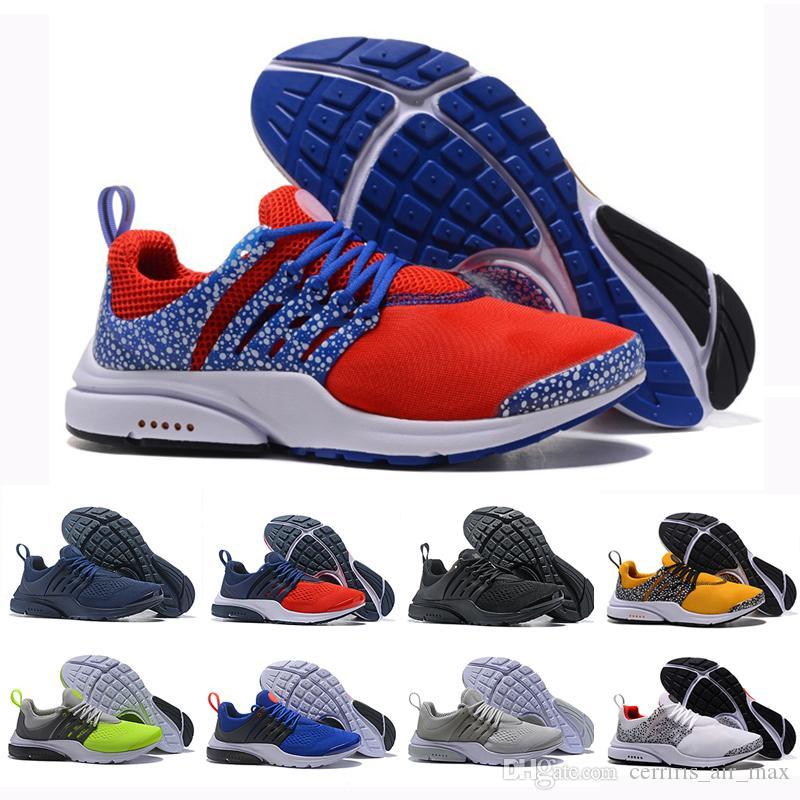 Moda Lüks Koşu Ayakkabıları Presto Safari Paketi Siyah Mavi Gri Kırmızı Beyaz Sarı Erkek Kadın Marka Tasarım Nefes Spor Sneakers Eğitmenler