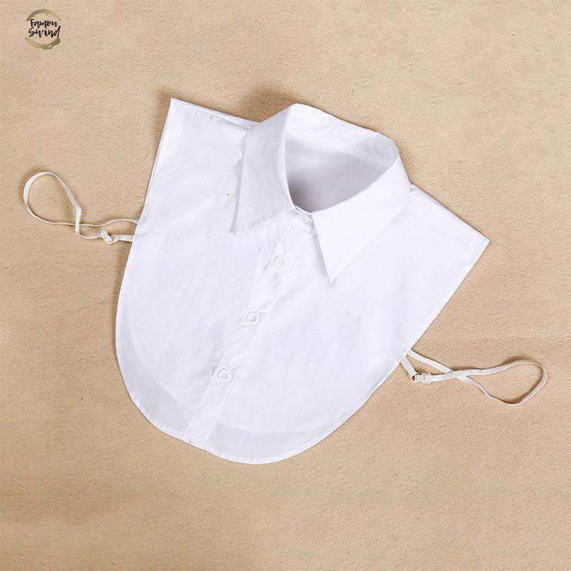 빈티지 여성 쉬폰 블라우스 셔츠 가짜 칼라 흰색과 검은 색 타이 분리 칼라 옷 깃 쉬폰 블라우스 톱 여성 의류