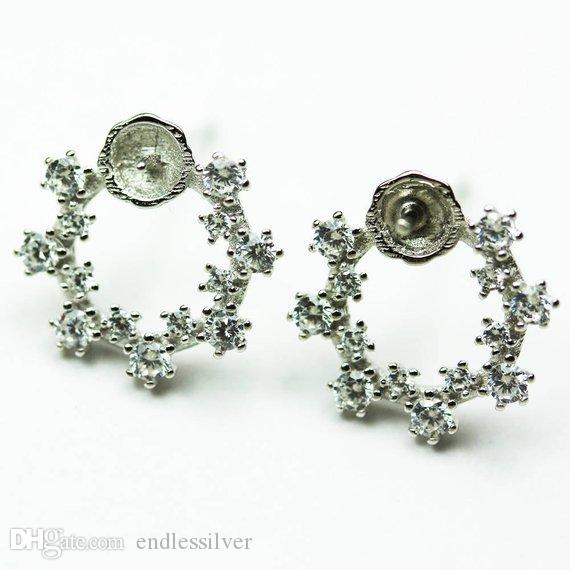 HOPEARL Jewelry Clear Cubic Zirconia Stud Earring Pearl Mounts 925 Sterling Silver DIY Making for Ladies