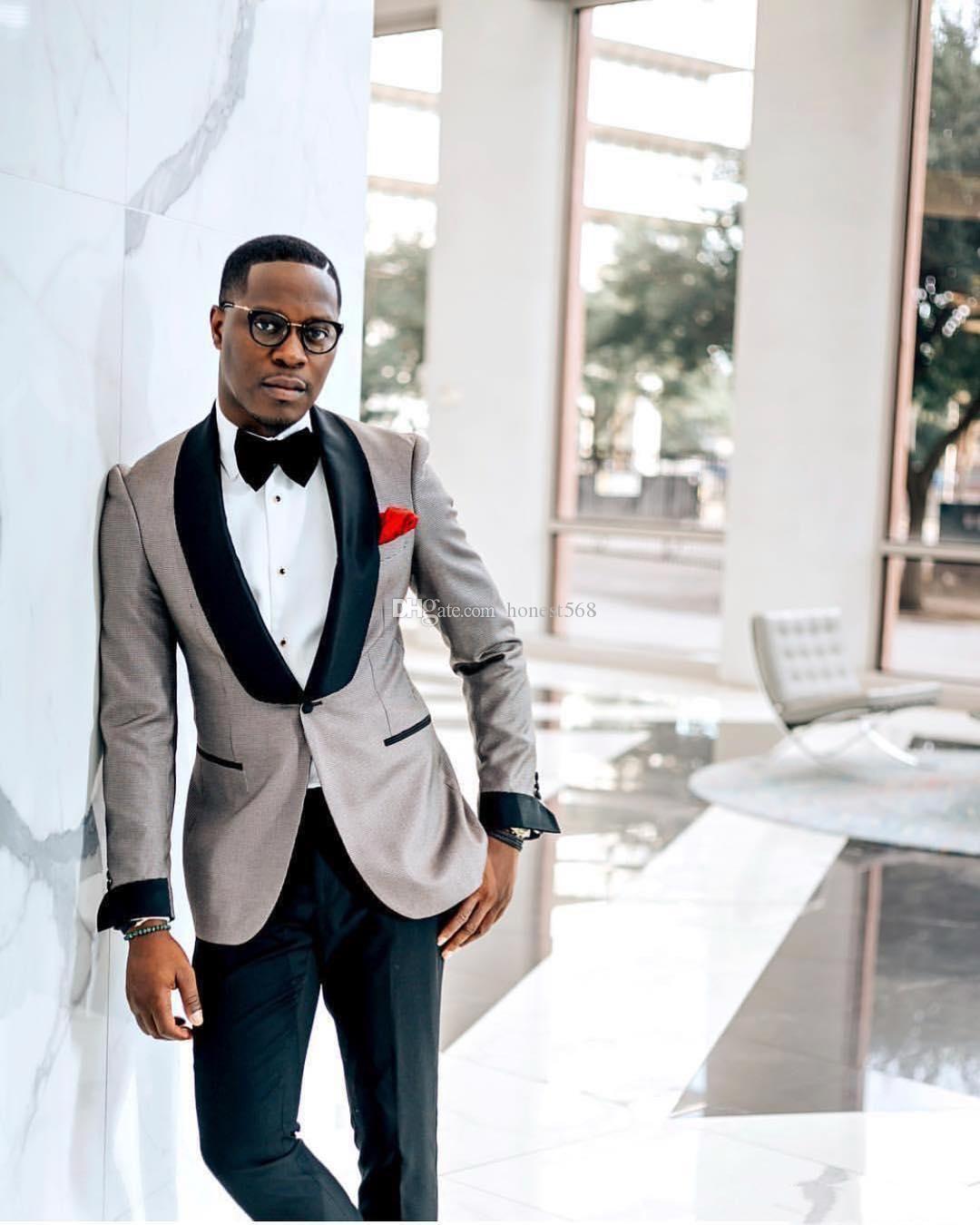 Ucuz Ve Ince Bir Düğme Groomsmen Şal Yaka Damat Smokin Erkek Takım Elbise Düğün/Balo / Akşam İyi Adam Blazer (Ceket + Pantolon + Kravat) A383