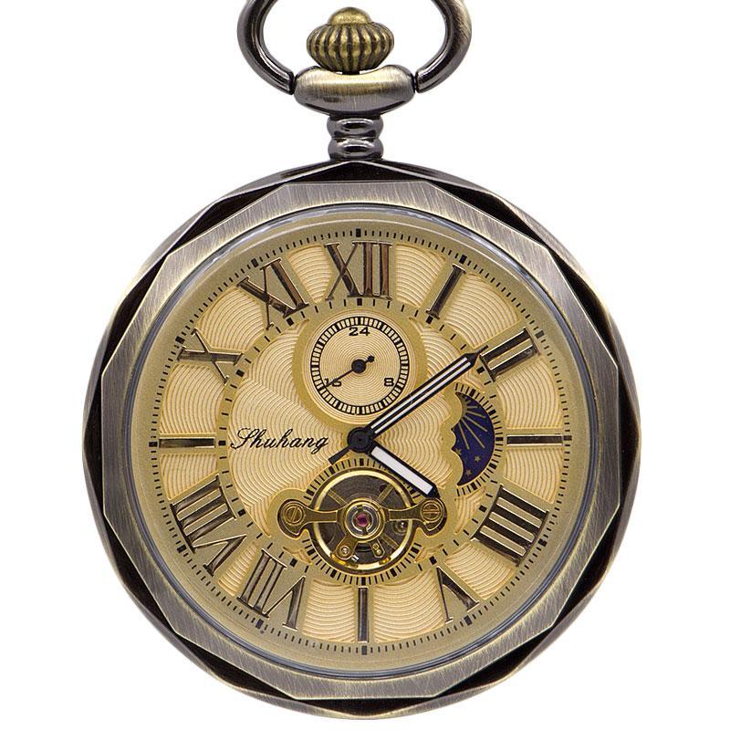 Yüksek Kaliteli Golden Moon Phase Mekanik Pocket Saat Roman Numarası Tourbillon Dial kolye Zinciri Erkekler Kadınlar PJX1398