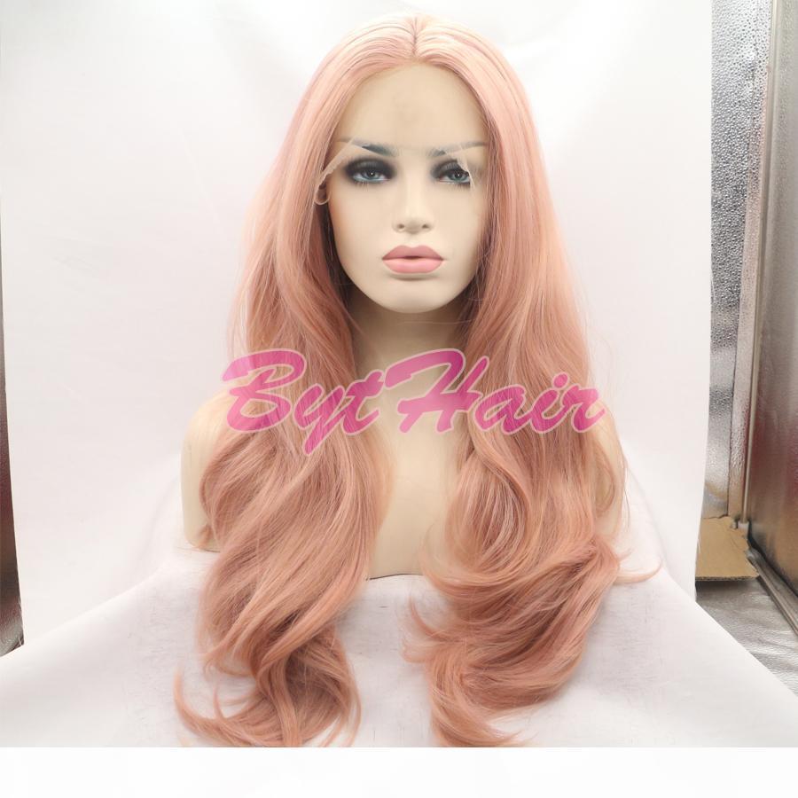 Bythair résistant à la chaleur fibre naturelle Glueless Hairline vague de corps cheveux entièrement perruques pour les femmes mixte synthétique rose avant de dentelle perruque