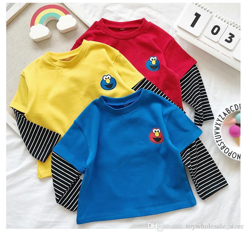 Ins Primavera Bambini maniche lunghe T-shirt Cartoon Sesame Elmo falso Tees due pezzi Tops Le ragazze dei ragazzi a maniche lunghe a righe T-shirt 3 colori M448
