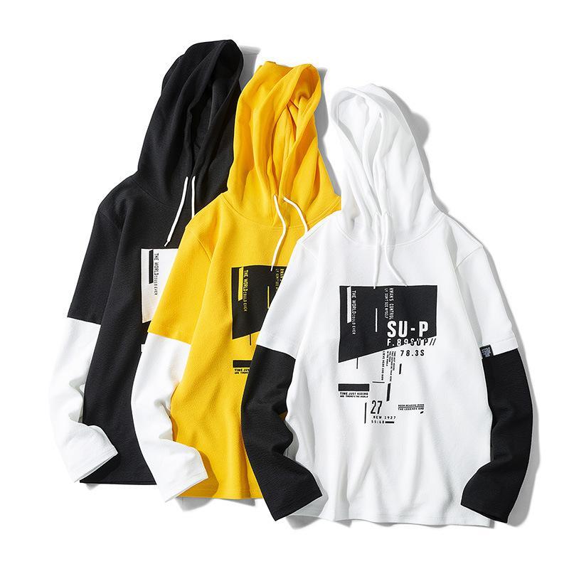 дизайнер мужской длинный рукав футболки осень рыхлый моды поддельные два все-матч случайных свитер с капюшоном мужчин