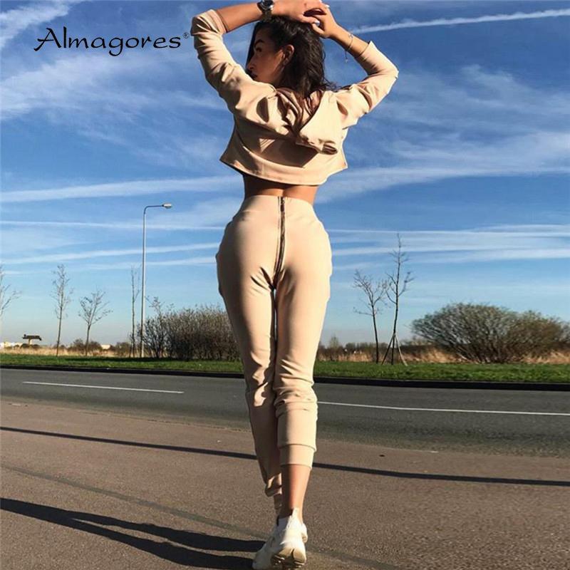 Automne 2 pièces Ensembles Survêtement femmes capuche manches longues Sweat Hoodies Zipper Pantalon taille haute 2018 Fashion Suits d'entraînement