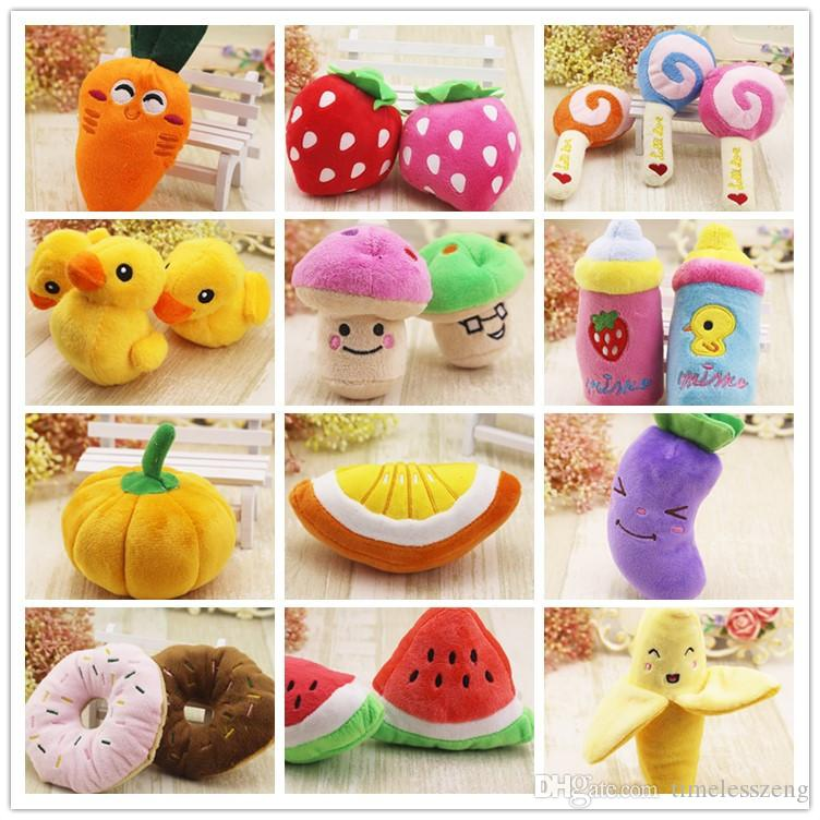 Various Dog Toy Pet Puppy Cat Plush Toy Sound Chew Squeaker Funny Chicken Banana Stra Duck Shaped Toys Lovely Pet Toys