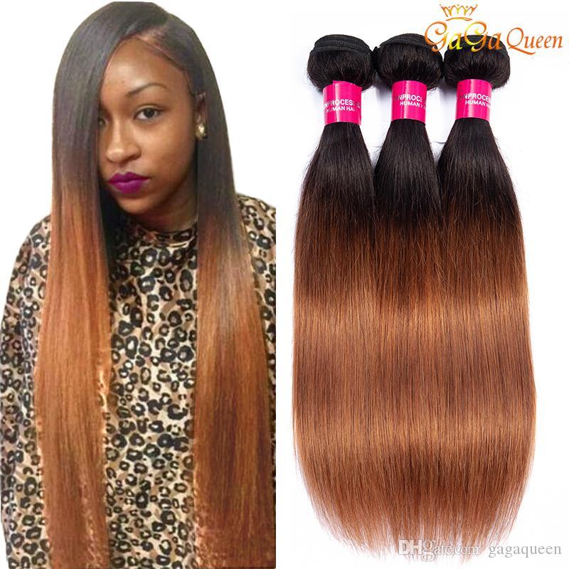 1b 30 brasileña virginal recta Ombre Cabello liso extensiones de cabello humano Brown armadura brasileña del pelo de lotes