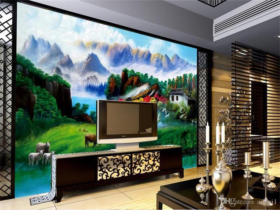 Tamanho personalizado 3d foto papel de parede sala de estar quarto cama mural Summer Village bela vista imagem sofá TV pano de fundo papel de parede não-tecido adesivo