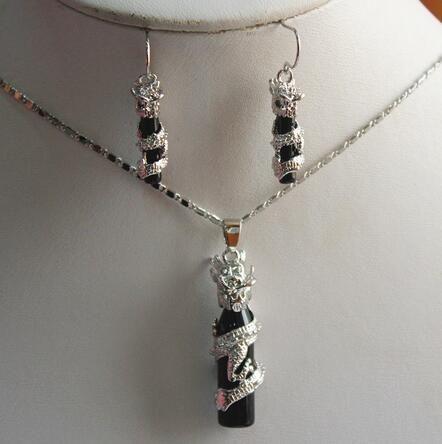 Женская свадьба милый серебряный дракон черный цилиндр драгоценный камень + серебряный кулон серьги наборы с цепочкой серебро-настоящее серебро-ювелирные изделия